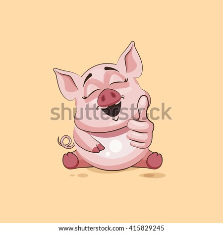 Vector Stock Illustration isolated Emoji character cartoon Pig approves with thumb up sticker emoticon for site, infographics, video, animation, websites, e-mails, newsletters, reports, comics - stock vector