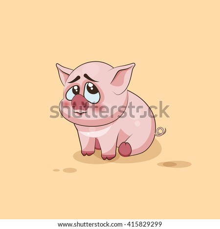 Vector Stock Illustration isolated Emoji character cartoon Pig embarrassed, shy and blushes sticker emoticon for site, infographics, video, animation, websites, e-mails, newsletters, reports, comics - stock vector