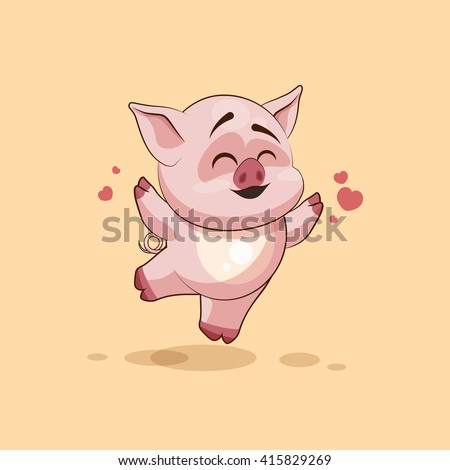 Vector Stock Illustration isolated Emoji character cartoon Pig jumping for joy, happy sticker emoticon for site, infographics, video, animation, websites, e-mails, newsletters, reports, comics - stock vector