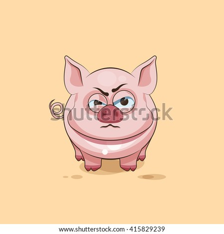 Vector Stock Illustration isolated Emoji character cartoon Pig sticker emoticon with angry emotion for site, infographics, video, animation, websites, e-mails, newsletters, reports, comics - stock vector
