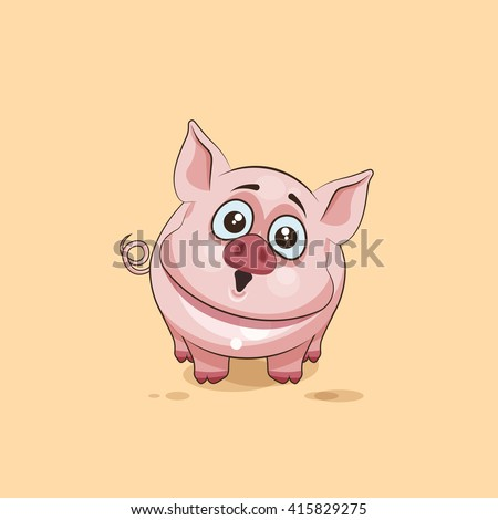 Vector Stock Illustration isolated Emoji character cartoon Pig surprised with big eyes sticker emoticon for site, infographics, video, animation, websites, e-mails, newsletters, reports, comics - stock vector