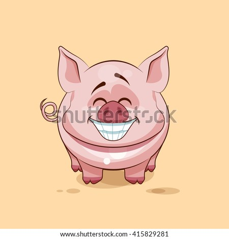 Vector Stock Illustration isolated Emoji character cartoon Pig with a huge smile from ear to ear sticker emoticon for site, infographics, video, animation, website, e-mail, newsletter, reports, comics - stock vector