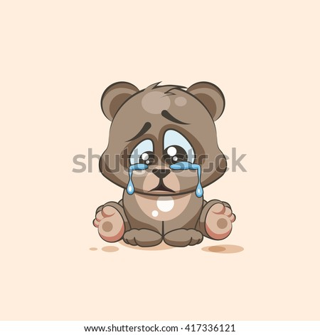 Vector Stock Illustration isolated Emoji character cartoon sad and frustrated Bear crying, tears sticker emoticon for site, info graphic, video, animation, websites, mails, newsletters, report, comic - stock vector