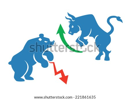 vector stock market icons, bear and bull with red and green arrows - stock vector