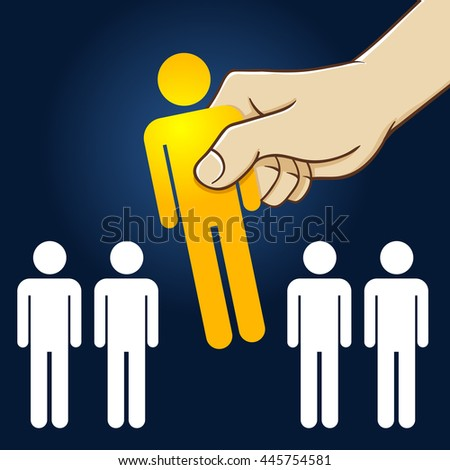 Vector stock of hand picking the best people from the line - stock vector