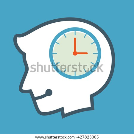 Vector stock of human head silhouette thinking about time