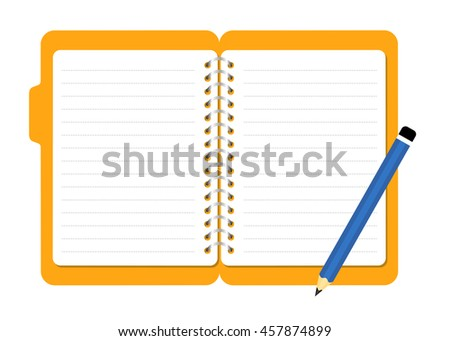 Vector stock of open document file folder with blank notes and pencil