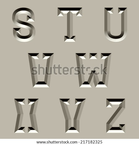 vector stone carved alphabet font - part 3 - stock vector