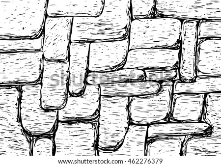 Vector stone wall painted strokes.