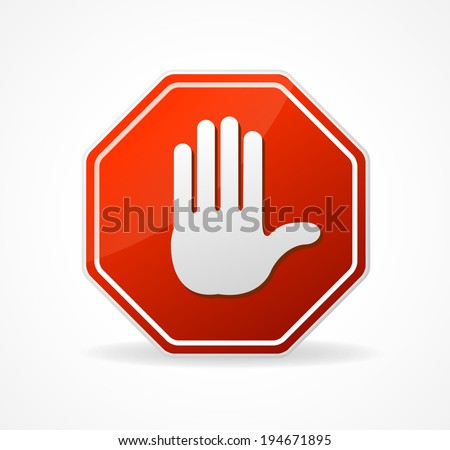 Vector Stop Sign Red isolated on white background - stock vector