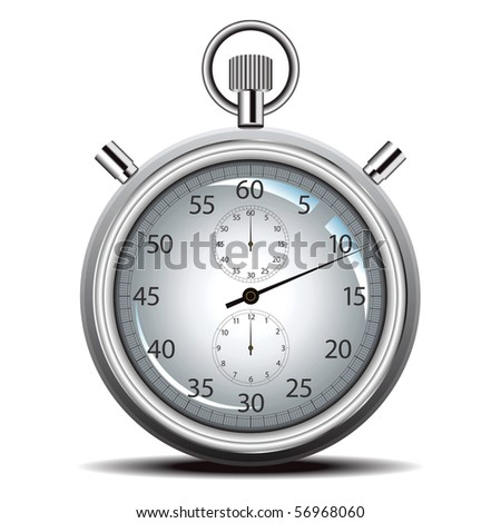 Vector stop watch in high detail on white - stock vector