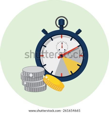 Vector Stopwatch and Coins Flat Illustration - stock vector