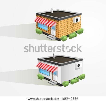 Vector store building. - stock vector