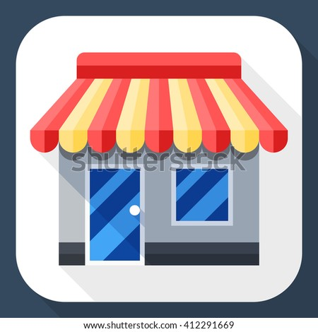 Vector Store or Shop icon. Shop or Store simple icon in flat style with long shadow - stock vector