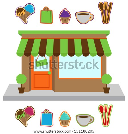 Vector Store or Shop with Signs - stock vector