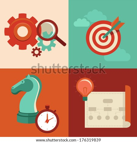 Vector strategy concept in flat trendy style - gear icons and magnifier, target, chess knight and stopwatch, creative plan - stock vector