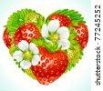 Vector strawberries in the shape of heart - stock vector
