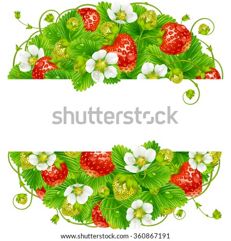 Vector strawberry round frame. Circle composition of ripe red berries - stock vector