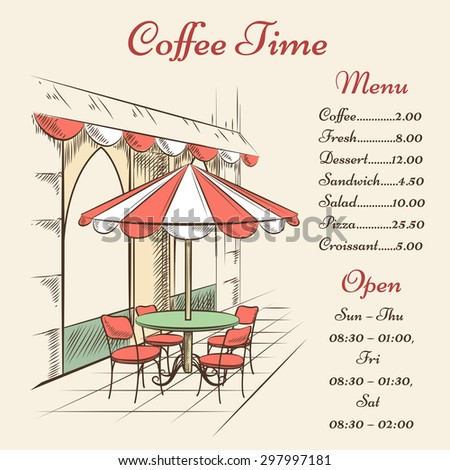 Vector street cafe poster. City and architecture, outdoor menu, town and tourism - stock vector
