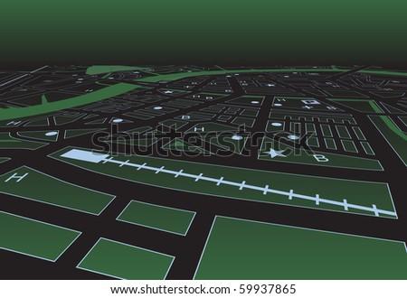 Vector streetmap of a generic city at night - stock vector