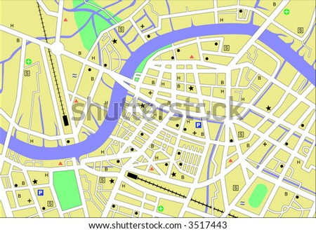 Vector streetmap of a generic city with no names - stock vector