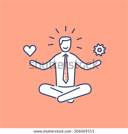 Vector stress management skills icon with meditating businessman balancing work and personal life | modern flat design soft skills linear illustration and infographic on orange background