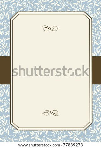 Vector Striped Floral Pattern and Frame. Easy to edit. Perfect for invitations or announcements. - stock vector