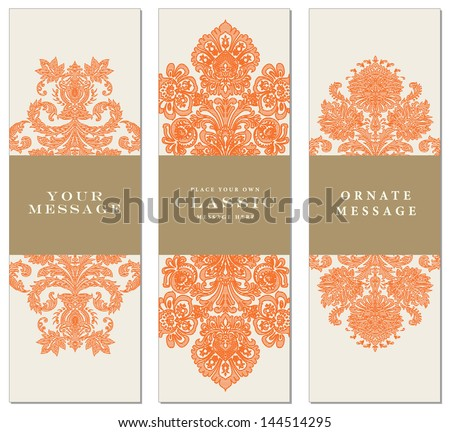 Vector Striped Ornament Frames. Easy to edit. Perfect for invitations or announcements. - stock vector