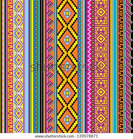 vector striped seamless background with a mexican ornament - stock vector