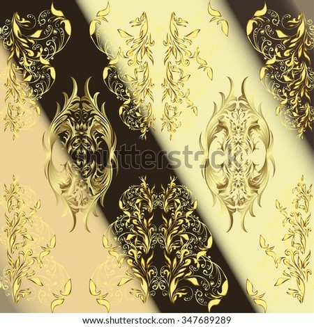 vector stripes gradient abstract golden doodles floral patter, dark brown and light yellow background - stock vector