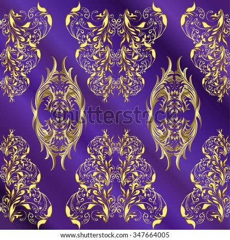 vector stripes lilac gradient abstract golden doodles floral patter, dark blue background - stock vector