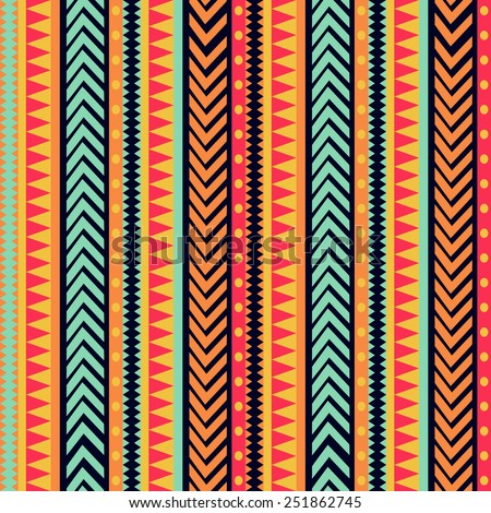 Vector stripes pattern. tribal seamless texture  - stock vector