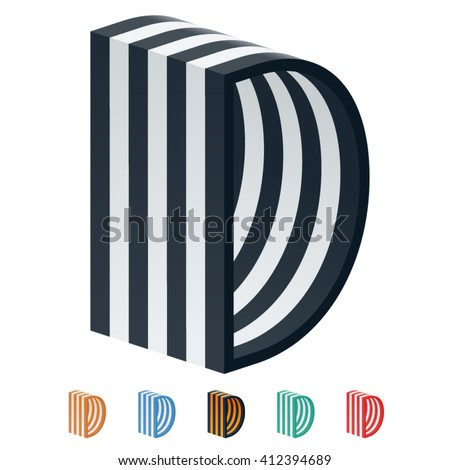 Vector stripped 3D alphabet. Optional different colors. Letter D - stock vector