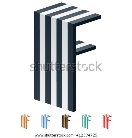 Vector stripped 3D alphabet. Optional different colors. Letter F - stock vector