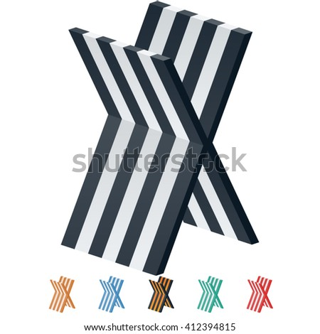 Vector stripped 3D alphabet. Optional different colors. Letter X - stock vector