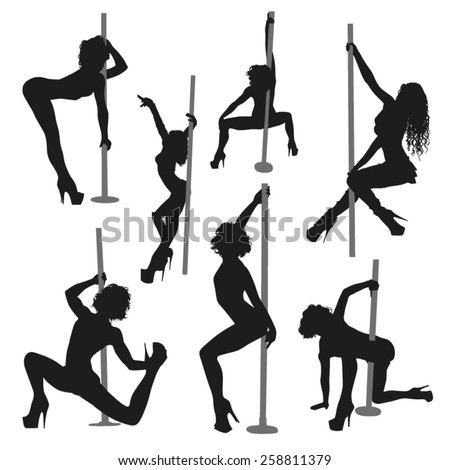 Vector striptease silhouettes