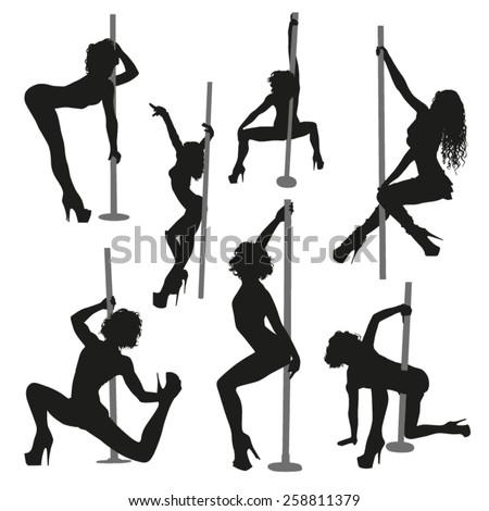 Vector striptease silhouettes - stock vector