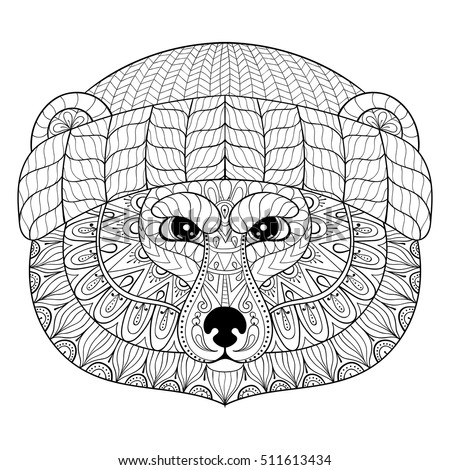 Vector strong bear face zentangle doodle stock vector for Bear head coloring page
