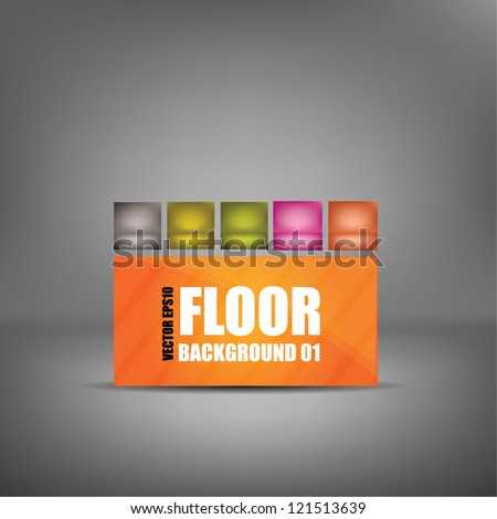 Vector studio floor background set with wall - ideal background to promote your products - stock vector