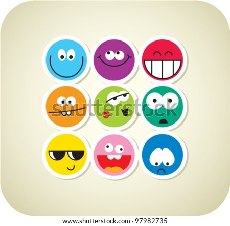 Vector style smile face icons - stock vector