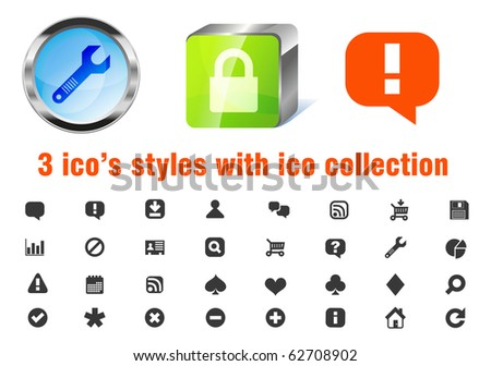 Vector 3 styles of 32 web 2.0 applications icons pack. Blue glass circle, green sleek cube and flat. Support, chat, rss, upload, shopping cart, search, playing cards suites, calendar, report and more. - stock vector