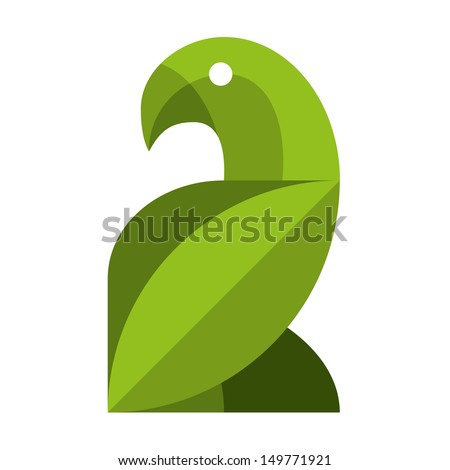 Vector Stylish Abstract Bird Of Leaves Icon - stock vector