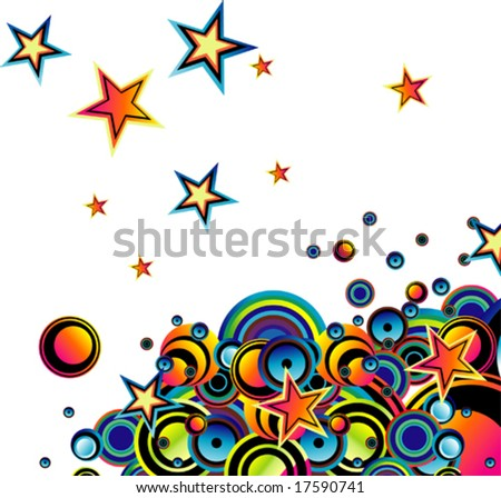 VECTOR Stylish bubbles  star background - stock vector