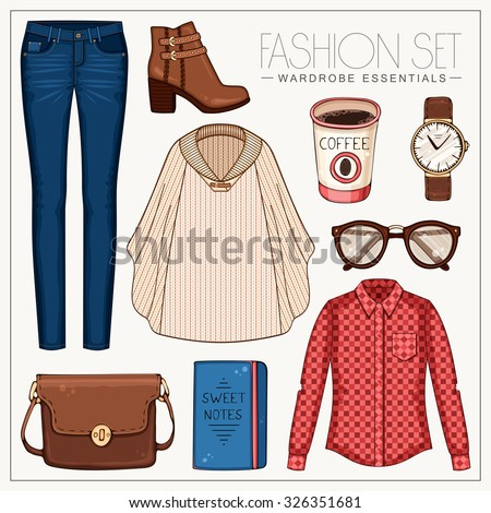Vector stylish fashion set of woman's clothes and accessories. Casual autumn or spring outfit with red plaid shirt, jeans, woolen cape and boots - stock vector