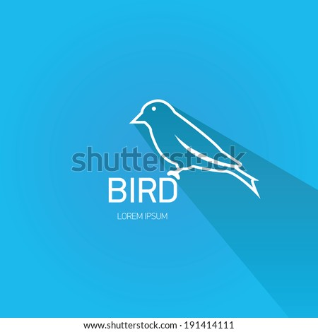 vector stylish flat design bird Icon with long shadow on stylish blue background. vector silhouette of bird - stock vector