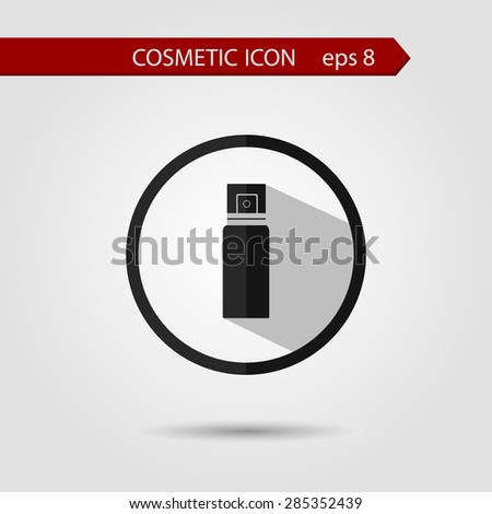Vector stylish flat icon of bottle spray with long shadow effect of beauty and cosmetics. - stock vector