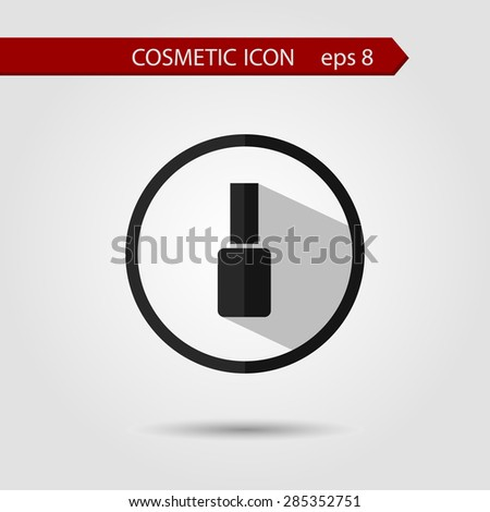 Vector stylish flat icon of nail pollish with long shadow effect of beauty and cosmetics. - stock vector