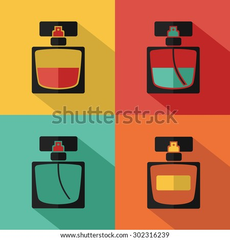 Vector stylish flat icon of perfume bottle of beauty, makeup and cosmetics. - stock vector