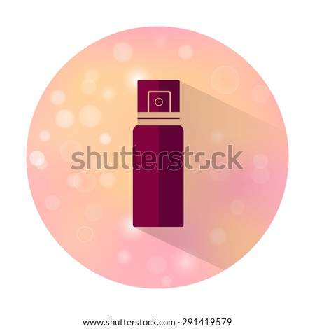 Vector stylish flat icon with long shadow effect of beauty and cosmetic on blurred background. Bottle spray. - stock vector