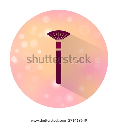 Vector stylish flat icon with long shadow effect of beauty and cosmetic on blurred background. Brush - stock vector
